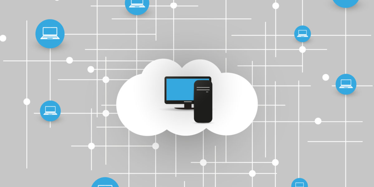 computer screen and phone within cloud