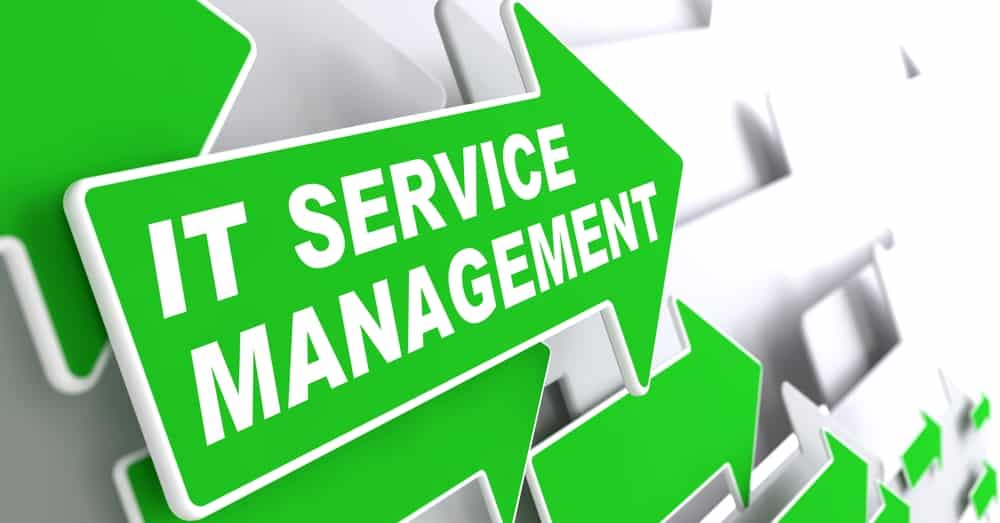 Green arrow with words IT Service Management