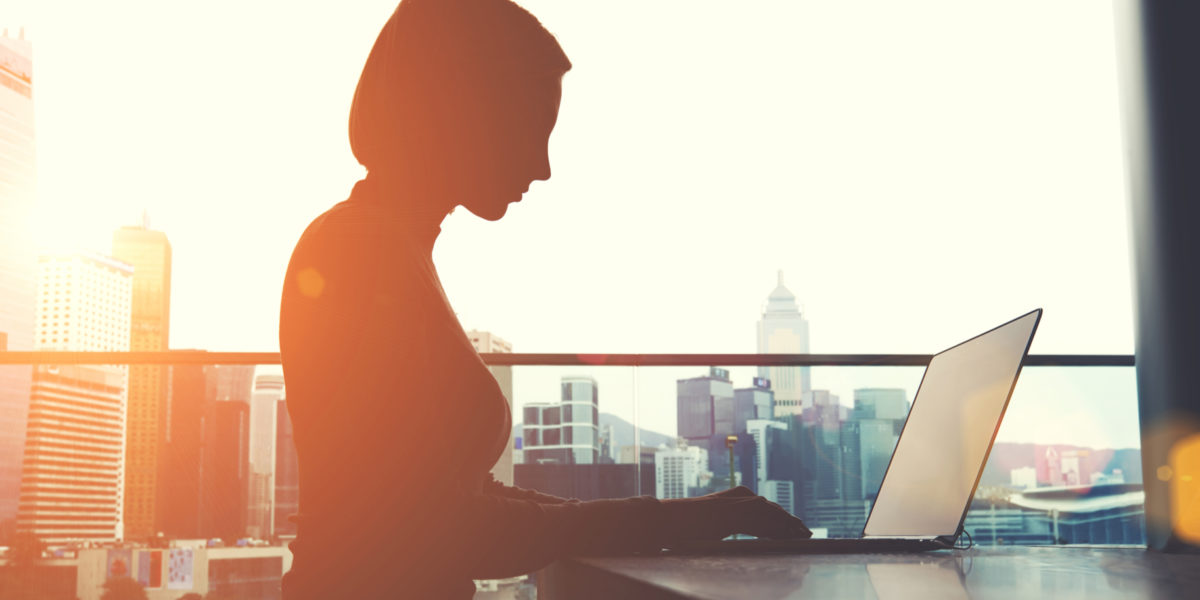 Woman working in high rise office