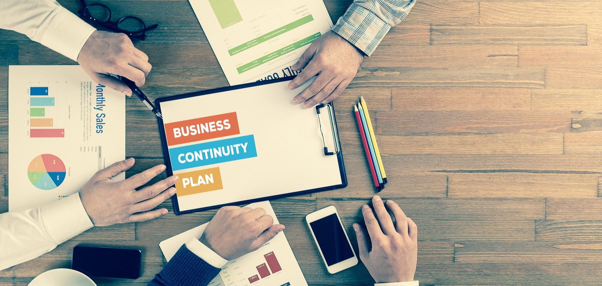 Whiteboard with words business continuity plan