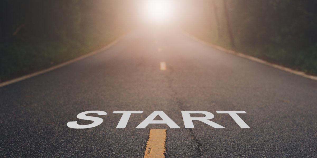 START written in middle of street