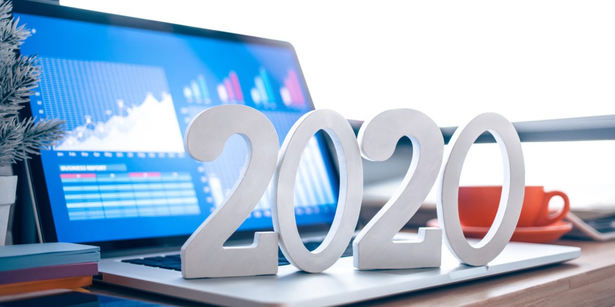 Large 2020 in front of computer screen